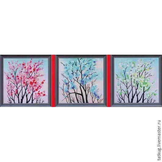 Вышивка триптих дерево