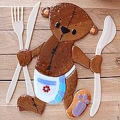 """Картины и панно ручной работы. Ярмарка Мастеров - ручная работа Панно для кухни """"Тедди"""" фьюзинг. Handmade."""