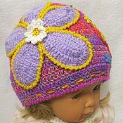 """Работы для детей, handmade. Livemaster - original item ШАПОЧКА для девочки """"Цветочный рай"""" весенняя вязаная. Handmade."""