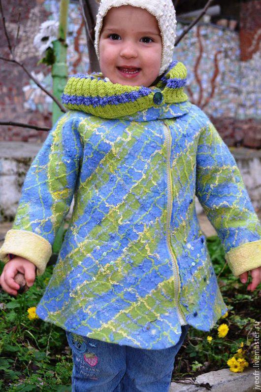 """Одежда для девочек, ручной работы. Ярмарка Мастеров - ручная работа. Купить пальто для девочки """"Шотландка"""". Handmade. Комбинированный, пальто валяное"""