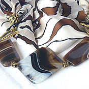 """Украшения ручной работы. Ярмарка Мастеров - ручная работа Шелковый комплект """"Геометрия камня"""". Handmade."""