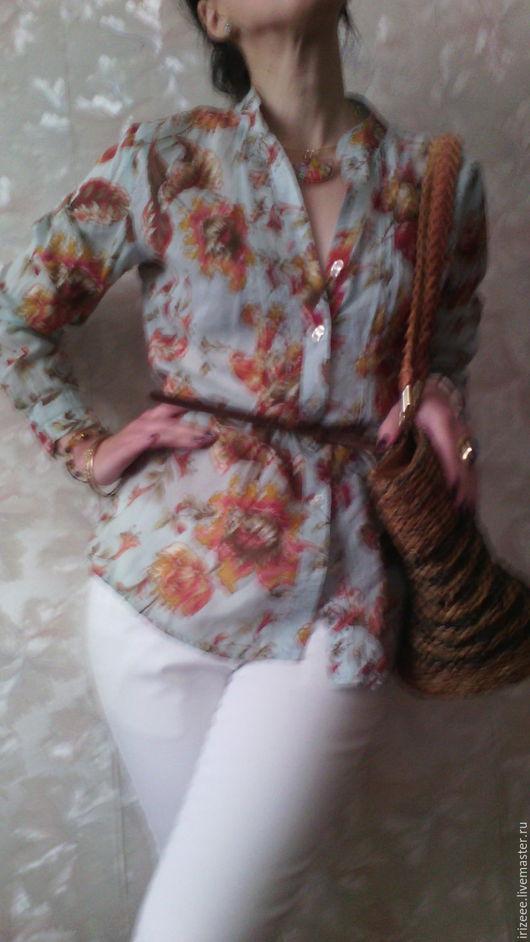 Блузки ручной работы. Ярмарка Мастеров - ручная работа. Купить Рубашка батистовая - 2. Handmade. Бирюзовый, батистовое платье