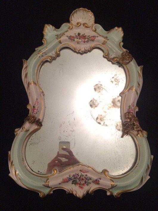 Винтажные предметы интерьера. Ярмарка Мастеров - ручная работа. Купить Антикварное настенное зеркало, Франция XIX в  фарфор золочение, бронза. Handmade.
