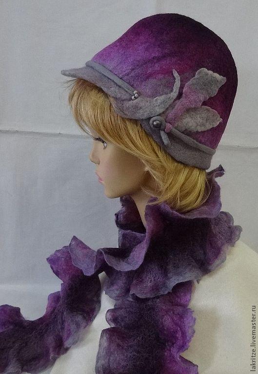 """Шляпы ручной работы. Ярмарка Мастеров - ручная работа. Купить Комплект """"Сиреневый туман"""".. Handmade. Тёмно-фиолетовый, шерсть 100%"""