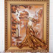 Картины и панно handmade. Livemaster - original item Volume painting of leather Lady gold. Panels of leather.. Handmade.
