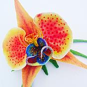 """Украшения ручной работы. Ярмарка Мастеров - ручная работа Брошь """" Оранжевая орхидея"""". Handmade."""