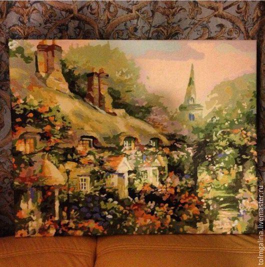 Картина на холсте Домик в цветах Готовая работа красками 30*40см