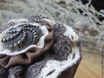 Шоколадная текстильная бохо-брошь с коричневым и бежевым кружевом. Шоколадное текстильное бохо-кольцо с коричневым и бежевым кружевом и винтажной пуговкой.