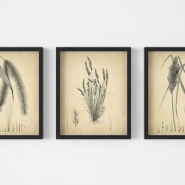 Картины и панно ручной работы. Ярмарка Мастеров - ручная работа Набор из трёх стильных винтажных постеров для украшения интерьера. Handmade.