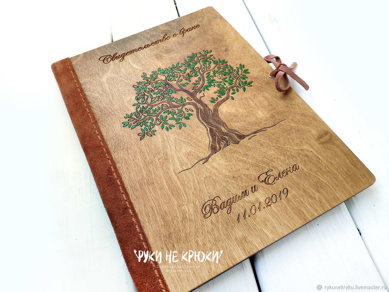 Папка для свидетельства о браке из дерева, Обложка для свидетельства о браке, Москва,  Фото №1