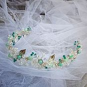 Свадебный салон handmade. Livemaster - original item Wedding wreath. Crystal-mint. Handmade.
