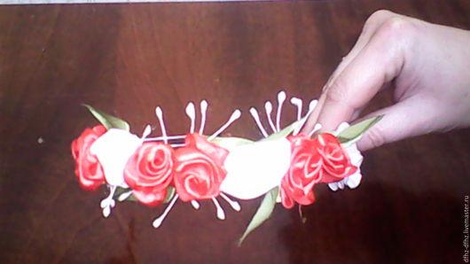 Повязки ручной работы. Ярмарка Мастеров - ручная работа. Купить Обручи для головы в стиле канзаши.. Handmade. Желтый, лента