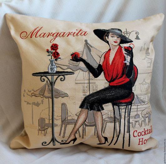 Текстиль, ковры ручной работы. Ярмарка Мастеров - ручная работа. Купить КАФЕ МАРГАРИТА: чехол гобеленовый на подушку, 45-45 см. Handmade.