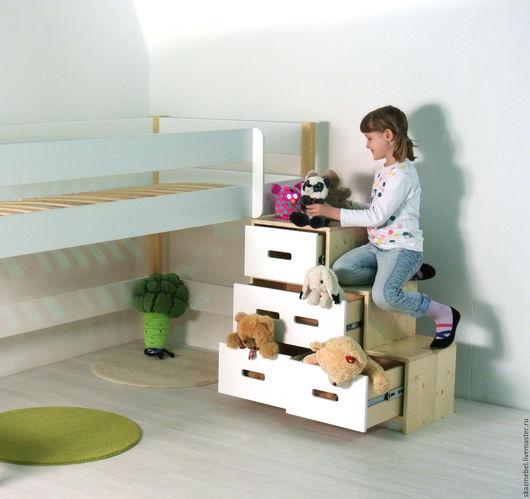 Детская ручной работы. Ярмарка Мастеров - ручная работа. Купить Кровать чердак  белая, высота 120 см лестница с ящиками. Handmade.