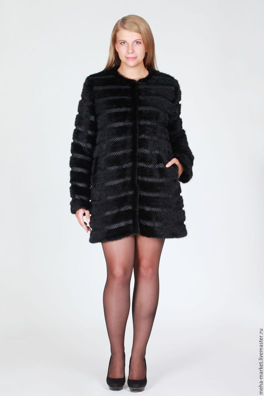 Пальто из вязаной норки CHANEL BLACK