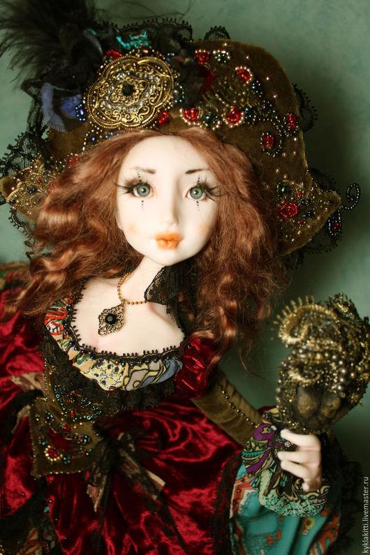 Коллекционные куклы ручной работы. Ярмарка Мастеров - ручная работа. Купить Коломбина Флоранс. Handmade. Комбинированный, бархат