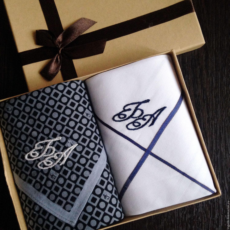 Handkerchiefs men's Contrast embroidery Monogram Monogram. mybroidery. My  Livemaster.Machine