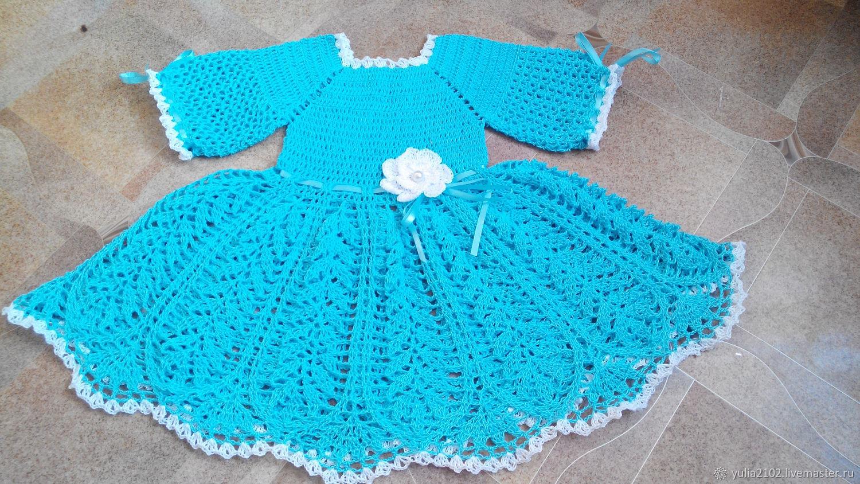 Одежда для девочек, ручной работы. Ярмарка Мастеров - ручная работа. Купить платье для девочки, вязаное крючком Нежная мята. Handmade.
