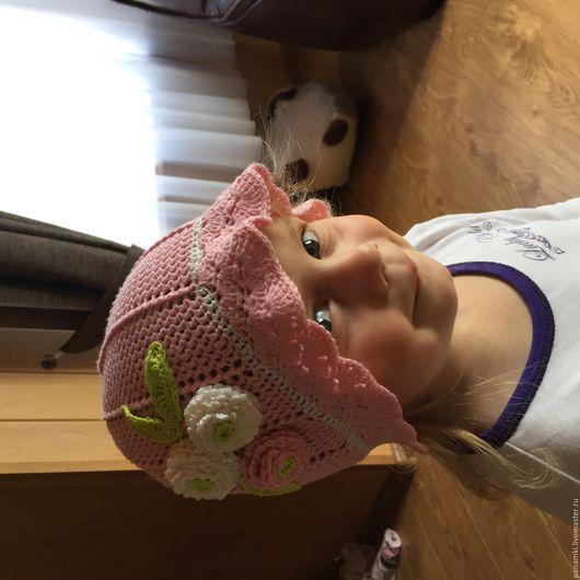 Шапки и шарфы ручной работы. Ярмарка Мастеров - ручная работа. Купить Панамка на девочку. Handmade. Розовый, однотонный, пряжа бамбук