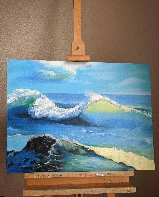 Картина море, Морской пейзаж маслом, масло, Картины, Санкт-Петербург,  Фото №1