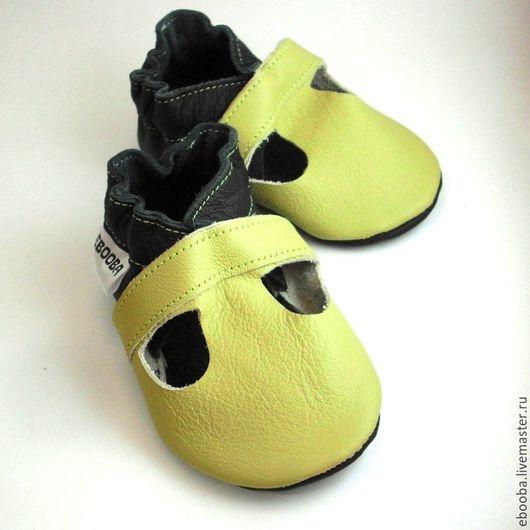 Кожаные чешки тапочки пинетки сандалии оливковые ebooba
