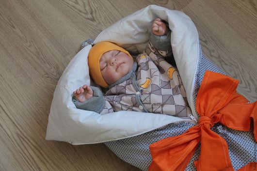 """Для новорожденных, ручной работы. Ярмарка Мастеров - ручная работа. Купить Одеяло-трансформер """"Хитрый лис"""" конверт+комбинезон. Handmade. Рисунок"""