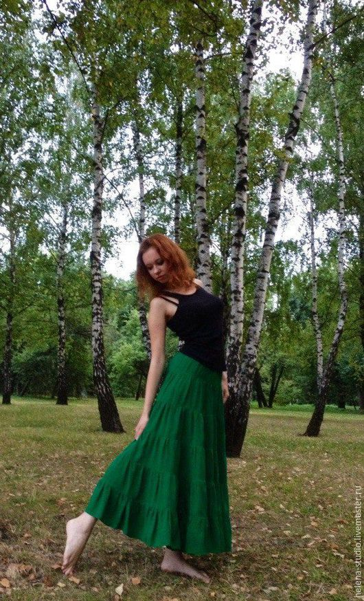"""Юбки ручной работы. Ярмарка Мастеров - ручная работа. Купить Летняя юбка из штапеля """"Колдовство"""". Handmade. Ярко-зелёный, штапель"""
