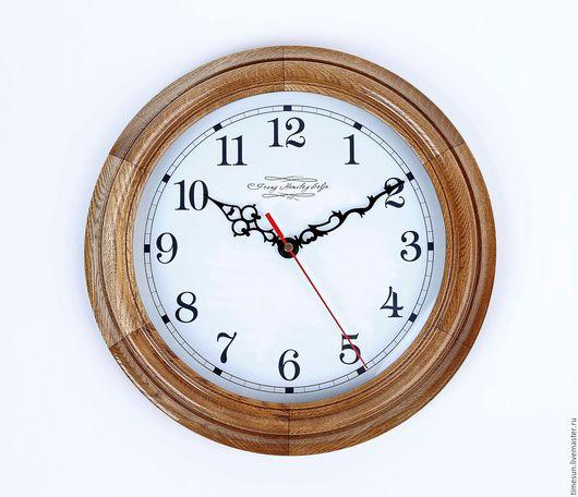 Часы для дома ручной работы. Ярмарка Мастеров - ручная работа. Купить Большие настенные часы из дуба. Handmade. Коричневый, Дуб