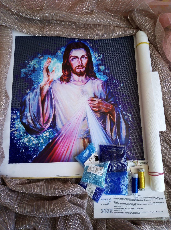 """Премиум набор вышивки бисером """"Иисус Христос Свечение"""", Схемы для вышивки, Майма,  Фото №1"""