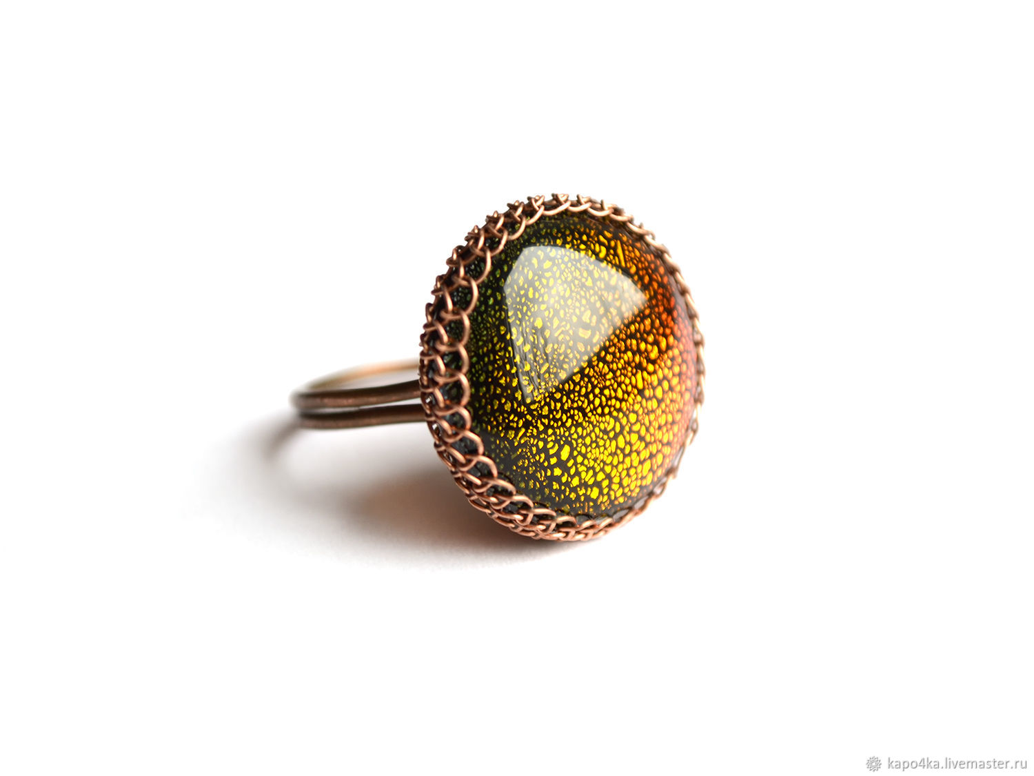 Ring universe Copper ring large round dichroic glass, Rings, Bakhmut,  Фото №1