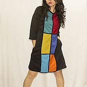 Одежда ручной работы. Ярмарка Мастеров - ручная работа Черное платье с цветными прямоугольниками. Handmade.
