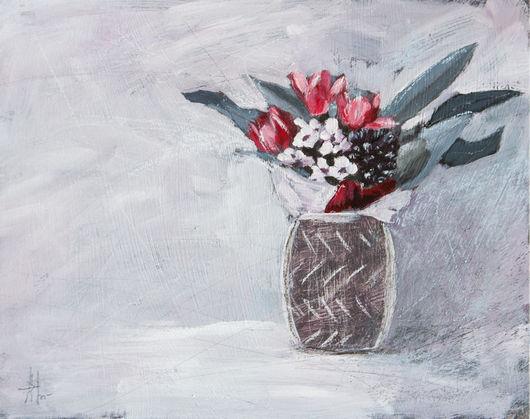Картины цветов ручной работы. Ярмарка Мастеров - ручная работа. Купить Букет. Handmade. Серый, лиловый, красный, букет, мазки