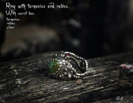 Кольца ручной работы. Ярмарка Мастеров - ручная работа. Купить кольцо с бирюзой и секретом. Handmade. Зеленый, авторская работа, рубины