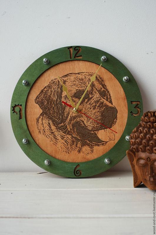 Часы для дома ручной работы. Ярмарка Мастеров - ручная работа. Купить Часы настенные Лабрадор ретривер. Handmade. Коричневый, питомец