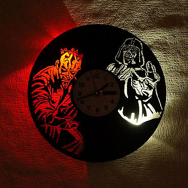 For home and interior handmade. Livemaster - original item Wall clock with led light from Sith plate. Handmade.