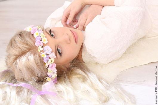 """Свадебные украшения ручной работы. Ярмарка Мастеров - ручная работа. Купить Свадебный венок """"Виолетта"""". Handmade. Венок, нежно-розовый"""