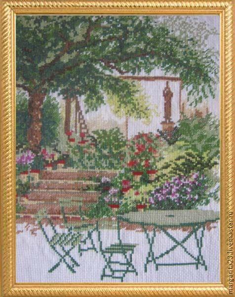 """Пейзаж ручной работы. Ярмарка Мастеров - ручная работа. Купить Вышитая картина """"Прекрасный сад"""". Handmade. Вышитая картина"""