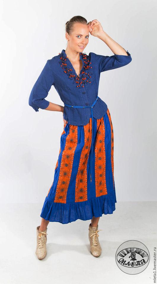 Юбки ручной работы. Ярмарка Мастеров - ручная работа. Купить юбка льняная полосатая. Handmade. Комбинированный, купить юбку