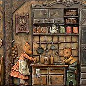 """Картины и панно ручной работы. Ярмарка Мастеров - ручная работа """"Сдобный день"""" рельеф (дерево, папье-маше). Handmade."""