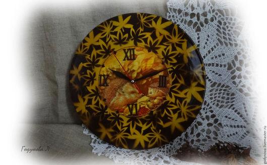 Часы для дома ручной работы. Ярмарка Мастеров - ручная работа. Купить Часы Осень в лесу. Handmade. Коричневый, часы для дома