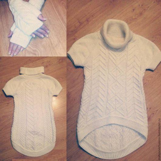 Кофты и свитера ручной работы. Ярмарка Мастеров - ручная работа. Купить Белый теплый свитер с удлиненной спинкой.. Handmade. Белый