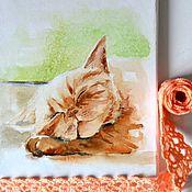 """Картины и панно ручной работы. Ярмарка Мастеров - ручная работа Картина акварелью """"Сладкий сон под тёплым солнцем"""". Handmade."""