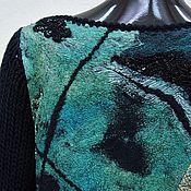 Одежда handmade. Livemaster - original item Felted sweater Turquoise black. Handmade.