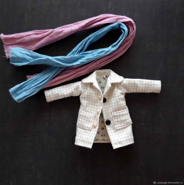 Короткое пальто с шарфом из жатого хлопка для блайз, Одежда для кукол, Барнаул,  Фото №1