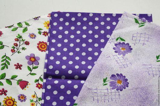 Шитье ручной работы.Ярмарка Мастеров- ручная работа. Купить Набор тканей Фиолетовый № 2, 3 шт, хлопок, ситец. Ткани для творчества. Handmade.