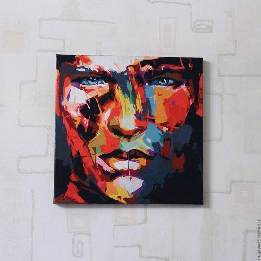 """Абстракция ручной работы. Ярмарка Мастеров - ручная работа. Купить Картина на холсте акрилом """"Мужской портрет"""" абстракция. Handmade. Комбинированный"""