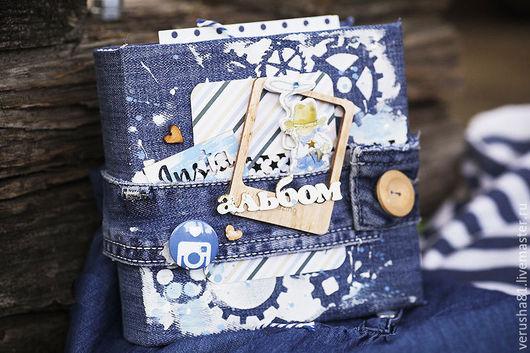"""Фотоальбомы ручной работы. Ярмарка Мастеров - ручная работа. Купить Insta альбом """"Jeans style"""". Handmade. Джинсовый альбом, фотоальбом"""