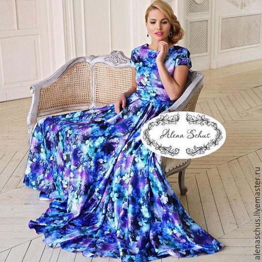Платья ручной работы. Ярмарка Мастеров - ручная работа. Купить Шелковое платье с принтом в пол. Handmade. Тёмно-синий