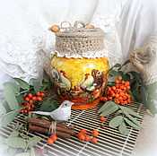 Для дома и интерьера ручной работы. Ярмарка Мастеров - ручная работа ваза для цветов,банка для орех или..Петухи и дары осени. Handmade.