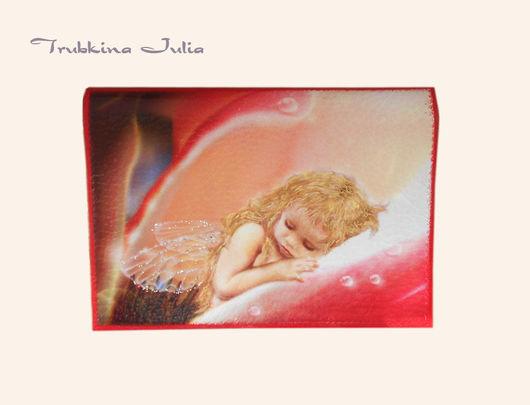 """Обложки ручной работы. Ярмарка Мастеров - ручная работа. Купить Обложка на паспорт """"Пока ангелы спят"""". Handmade. Ярко-красный"""